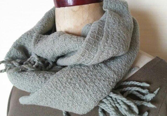 手織りカシミヤワッフル織りマフラー 297の画像1枚目