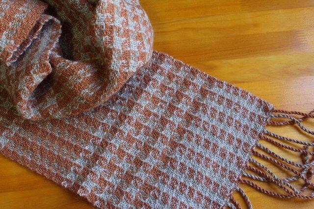 手織のマフラー 樺色(かばいろ)-1の画像1枚目