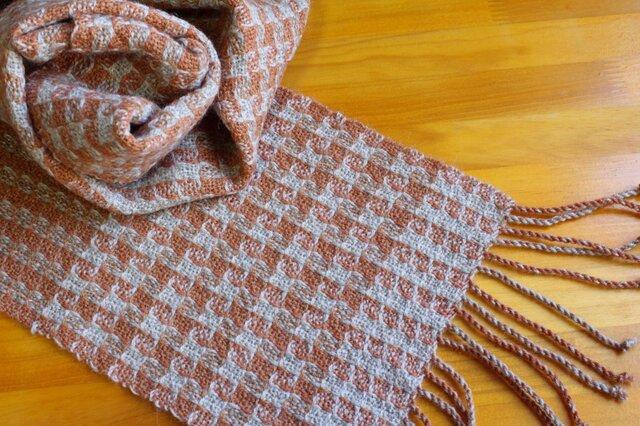 手織のマフラー 樺色(かばいろ)-2の画像1枚目