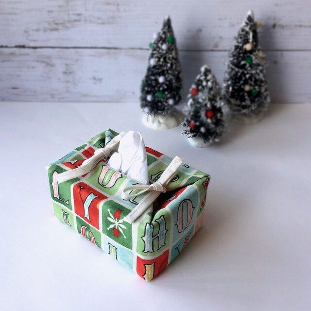 リバーシブルポケットティッシュカバー・容器付き(US生地のクリスマス英字×黄緑花柄)の画像1枚目