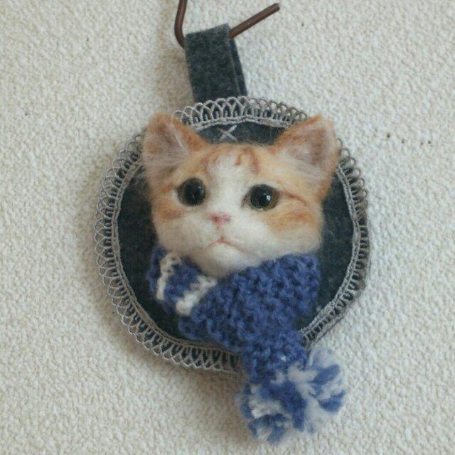 チャトラ*マフラー猫のオーナメントの画像1枚目