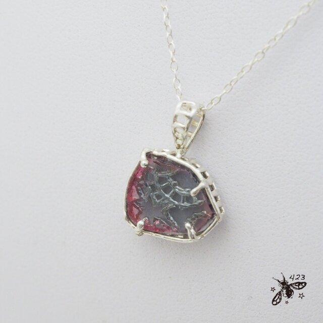 バイカラートルマリン原石ネックレス P099の画像1枚目