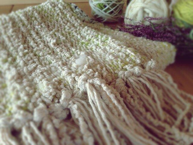 手織り 柔らかいスヌード 手紡ぎの画像1枚目