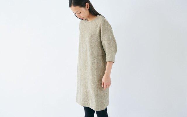 enrica herringbone dress beigeの画像1枚目