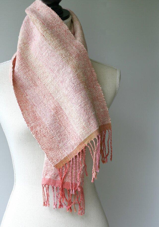 真綿シルクxガラ紡綿(オーガニック)マフラー 草木染 160903の画像1枚目