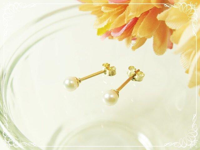 *K14GF***P115最高品質あこや真珠(ベピーパール3.5mm)☆スタッドピアスの画像1枚目