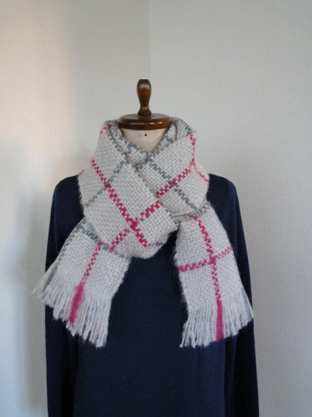 手織り 秋冬 格子柄ストール シルバーグレイの画像1枚目