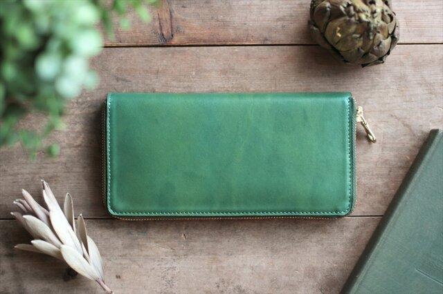 草木染革・藍&苅安[migaki] ×オイルレザー ラウンドファスナー長財布の画像1枚目