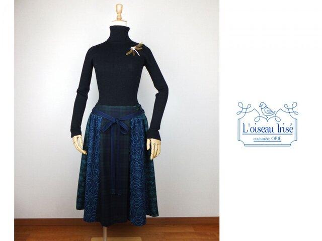 刺繍ウールのラップスカート ブルーの画像1枚目