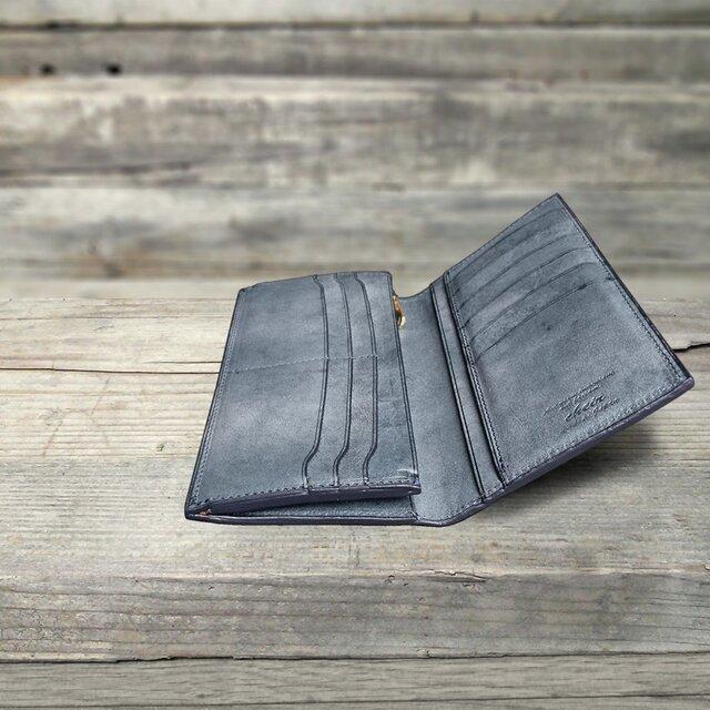 男の本革Slim長財布 --- 希少国産牛革ロロマ [ブルー]の画像1枚目