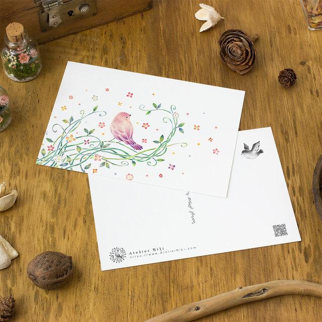 """4枚セット。絵本のような。ポストカード """"紫色の小鳥と蔦"""" PC-114の画像1枚目"""
