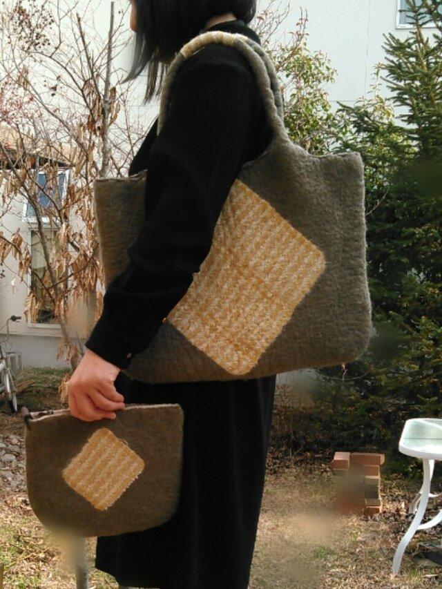 たっぷりバッグ(ポーチ付き) 羊毛フェルトグリーン の画像1枚目