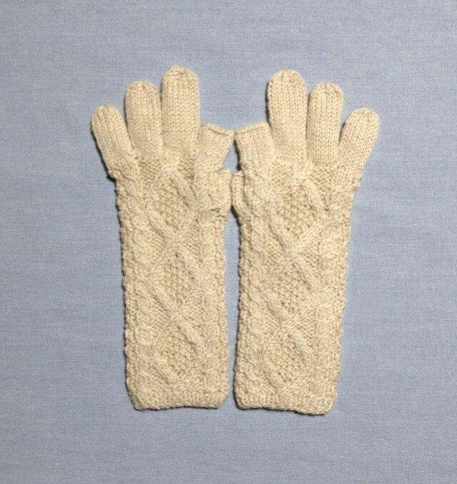 【受注後製作】手袋アルパカ×ラムウールベージュ系の画像1枚目