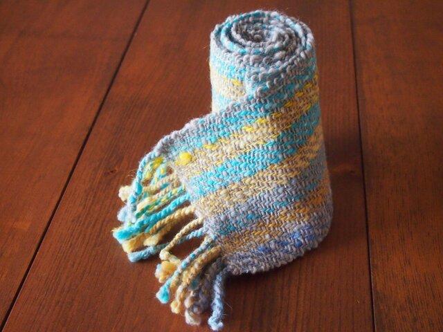 手紡ぎのマフラー(水色・黄色・グレー)の画像1枚目