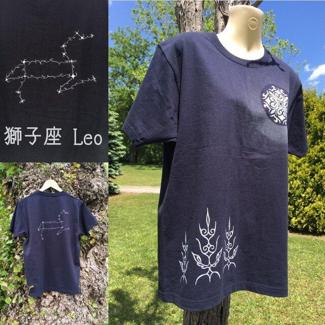 【受注製作】光る満月の森と12星座 アイヌデザイン コットンTシャツ 半袖 ブラックorネイビー ユニセックスの画像1枚目