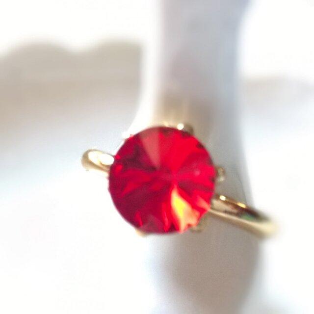 【sparkle スワロフスキー 一粒リング㊳】1月生まれ 誕生色 deep red 全39色の画像1枚目