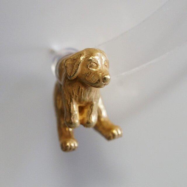 垂れ耳犬ピアス/アンティークゴールド 片耳の画像1枚目