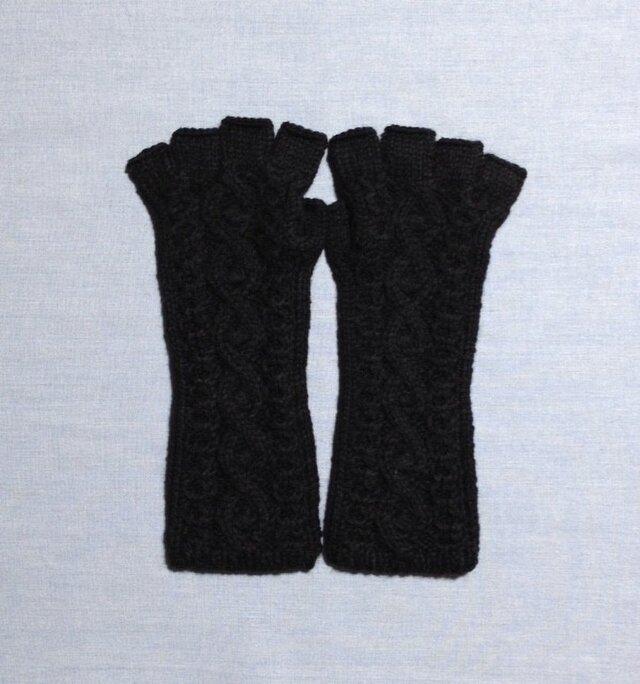【受注後製作】手袋アルパカ×ラムウール黒(M)の画像1枚目