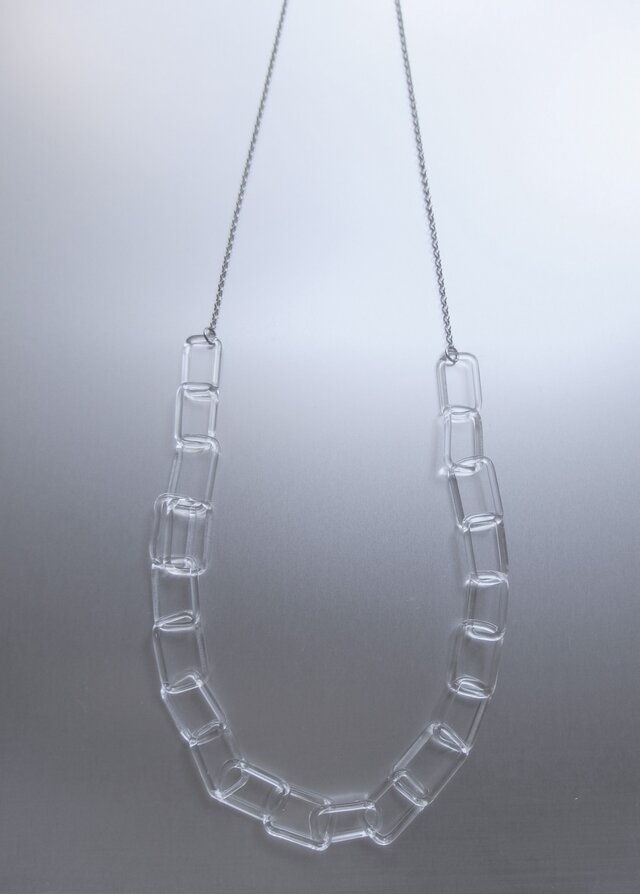 Square chain long Necklace Silverの画像1枚目