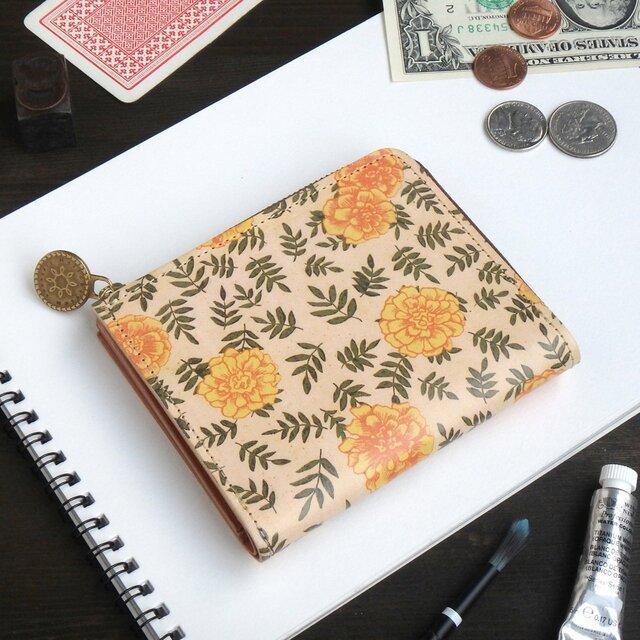 Lウォレット L字ファスナー 財布(ヴィンテージ マリーゴールド)オールレザー 革 レディース ILL-1157の画像1枚目
