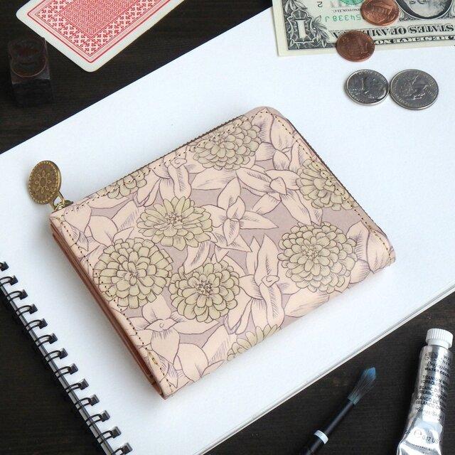 Lウォレット L字ファスナー 財布(グレイッシュ ジニア)オールレザー 革  メンズ レディース ILL-1157の画像1枚目