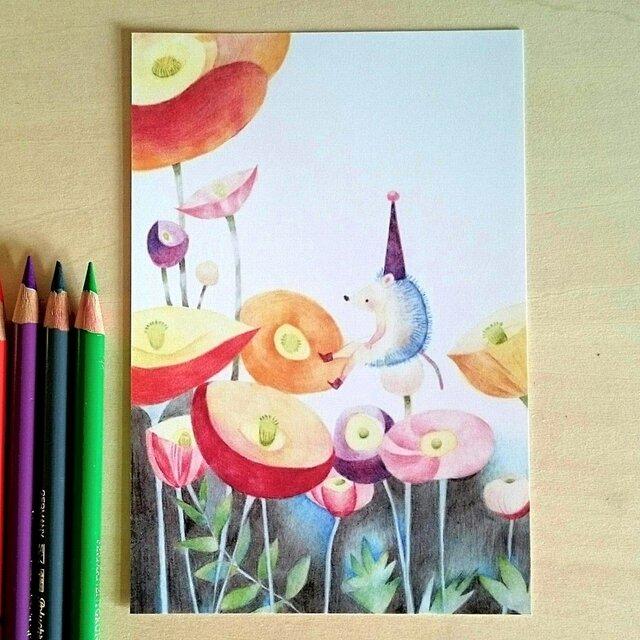 ハリネズミとflower  ポストカードの画像1枚目