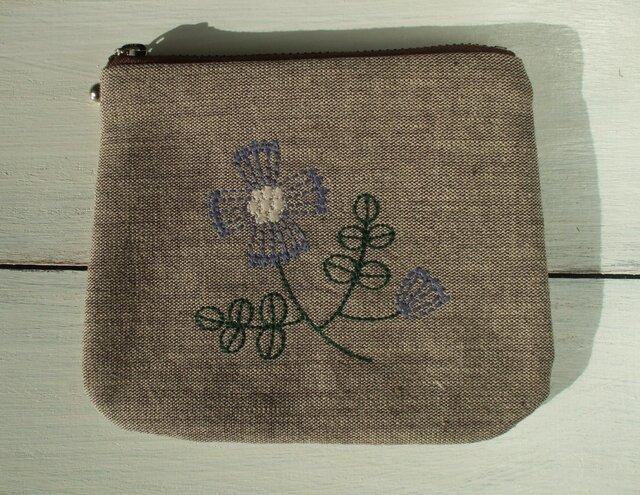 花刺繍のミニポーチ 茶綿麻の画像1枚目