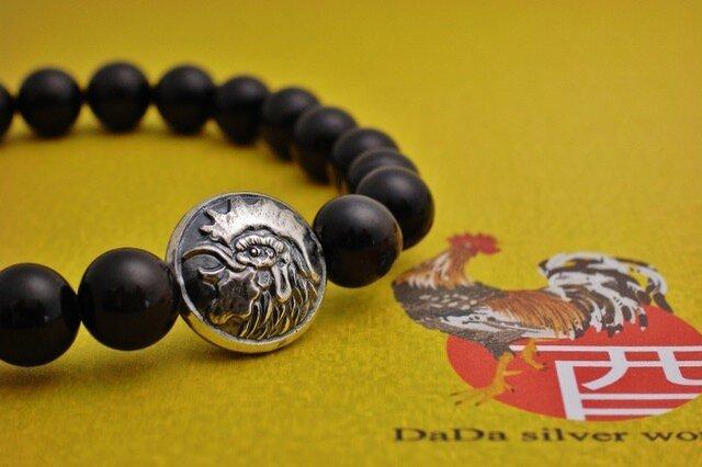 神鶏開運金運腕飾り【HUKU】2017年酉年天然石ブラックタイガーアイブレスレットの画像1枚目
