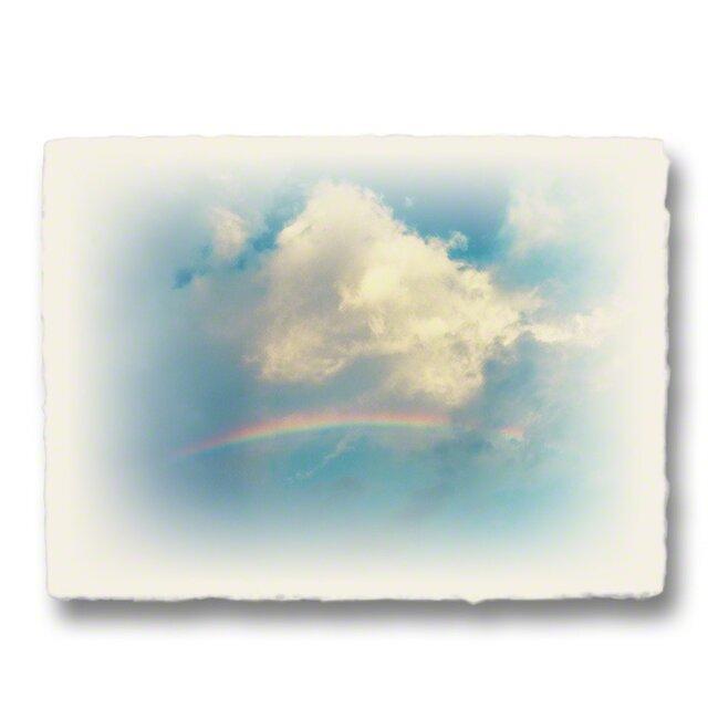 かわいい和紙の立体アートパネル「虹と入道雲」(18x13.5cm)の画像1枚目