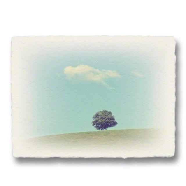 かわいい和紙の立体アートパネル「丘の上の一本の木とはぐれ雲」(18x13.5cm)の画像1枚目
