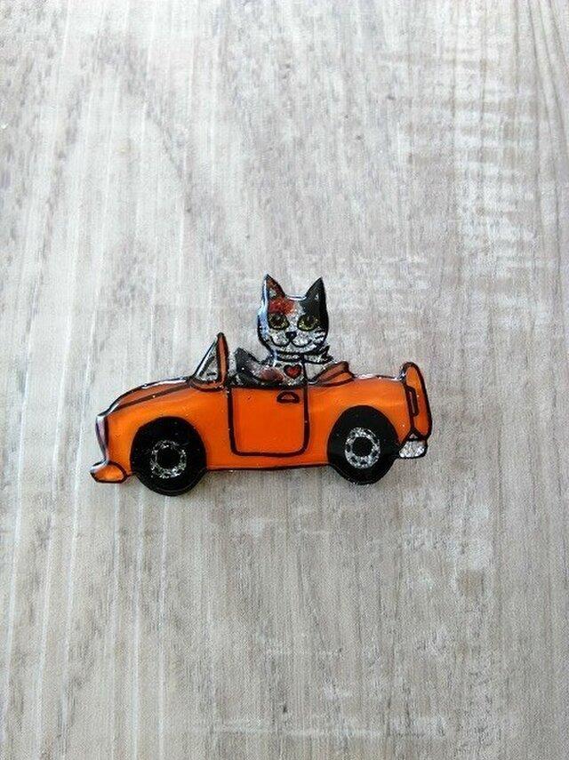 猫のピカピカブローチ【車】の画像1枚目