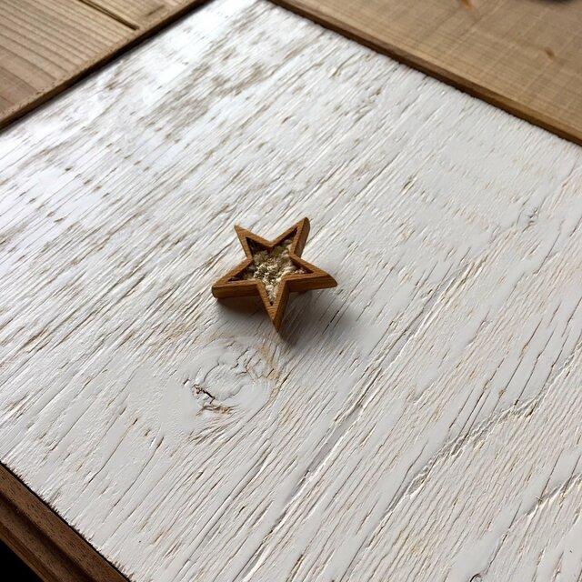 木と裂き織りのブローチ 星03の画像1枚目