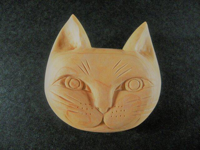 おおきなお顔の 木彫り ネコブローチ【開眼】の画像1枚目