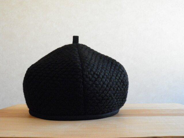 [再出品] ぽこぽこニットのベレー帽 黒の画像1枚目