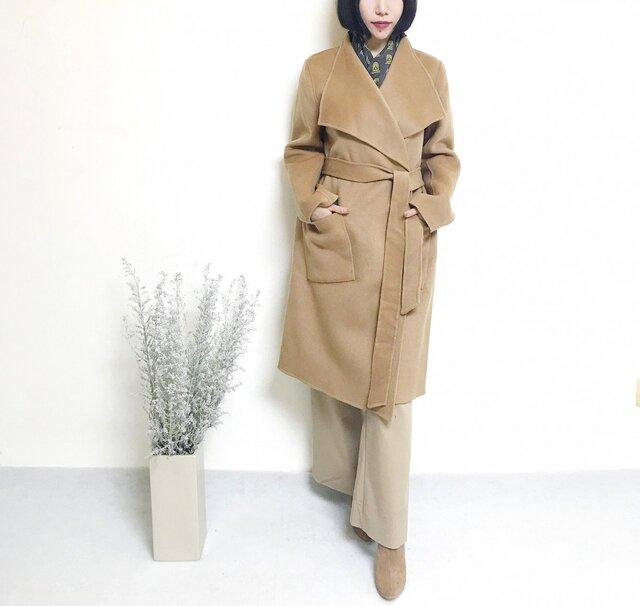 2017年新作 お色選択 手縫いカシミヤウールコートの画像1枚目