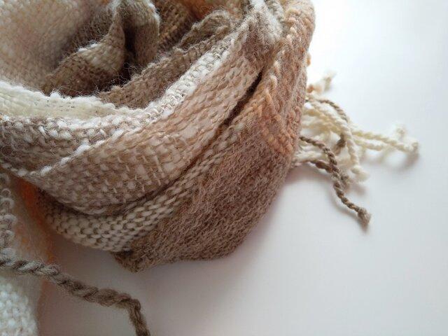 【ホームスパン】草木染 ふっくらあったか手織り茜染マフラー 309の画像1枚目