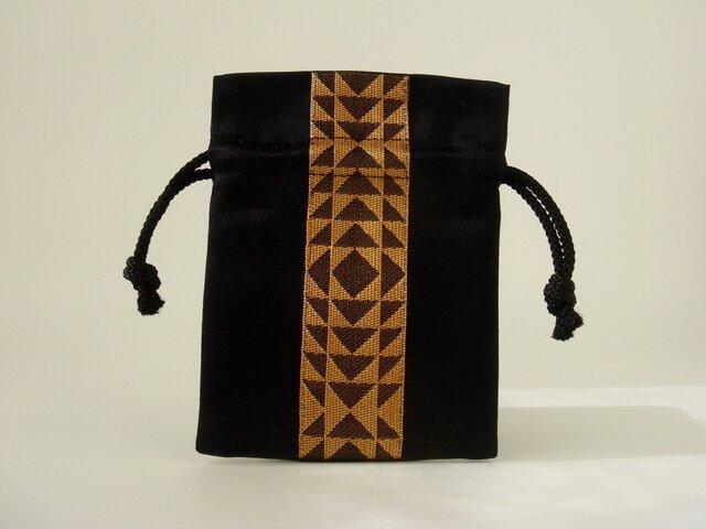 バチ袋(博多織ー幾何学柄・金)の画像1枚目
