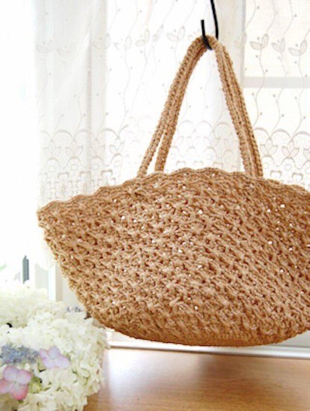 【編み図】クロス模様のかごバッグの画像1枚目