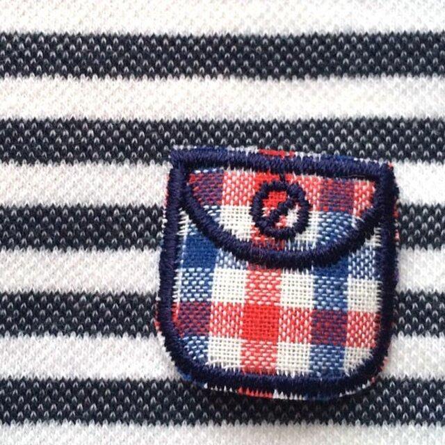 ドイツ ポケットアップリケワッペン-ギンガムミニ 赤青 992の画像1枚目
