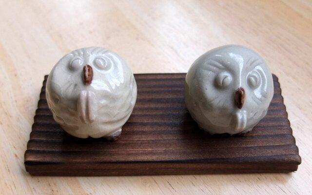 陶器・置物・「お願いふくろう」(二個組)の画像1枚目
