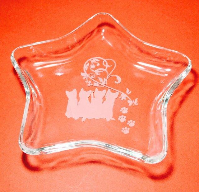 猫 猫グッズ スタープレート(ハンドメイド)ガラス彫刻の画像1枚目