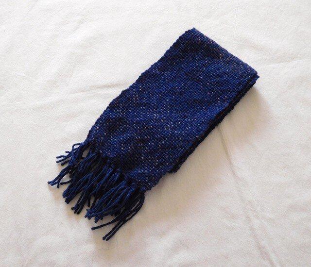 手織りマフラー 群青の画像1枚目