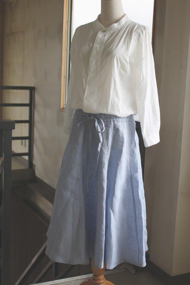 60720bd26c4c9b 【受注生産】フレアギャザースカート*リトアニアリネン*ライトブルーの画像1