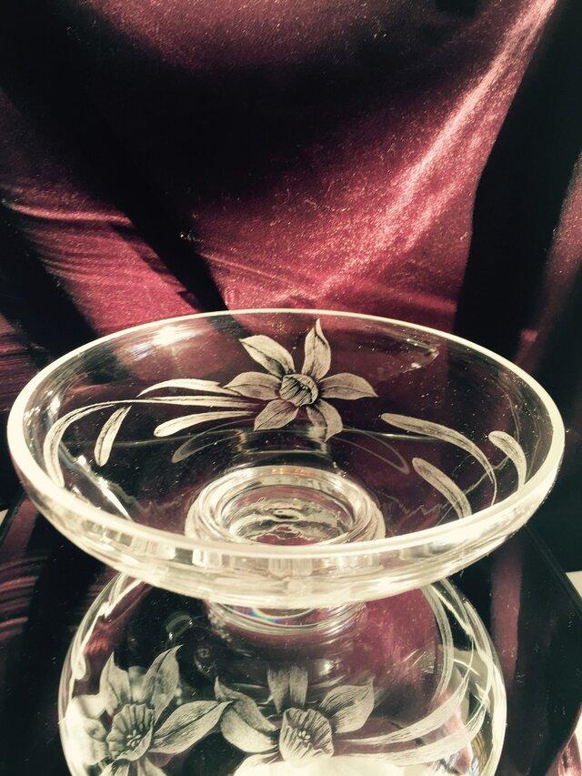 水仙のコンポート  〜手彫りガラス〜の画像1枚目