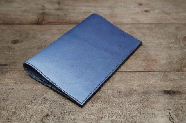 藍染め革 ブックカバーの画像1枚目