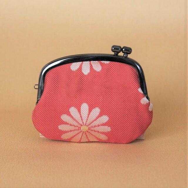 着物帯リメイクがまぐち 《くし》 ピンク・花 の画像1枚目