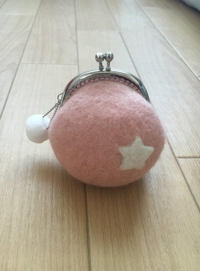 羊毛フェルト☆がまぐち財布☆スター☆ピンクの画像1枚目