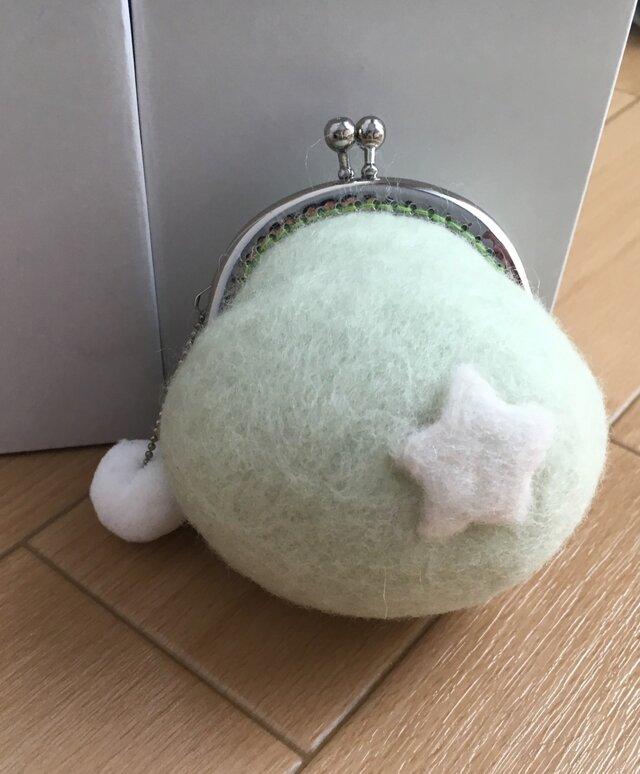 羊毛フェルト☆がまぐち財布☆スター☆グリーンの画像1枚目