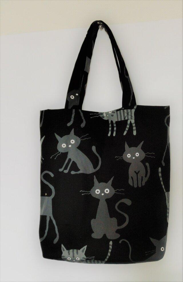 猫ちゃんのカジュアルトート    黒色(シンプルサイズ)の画像1枚目
