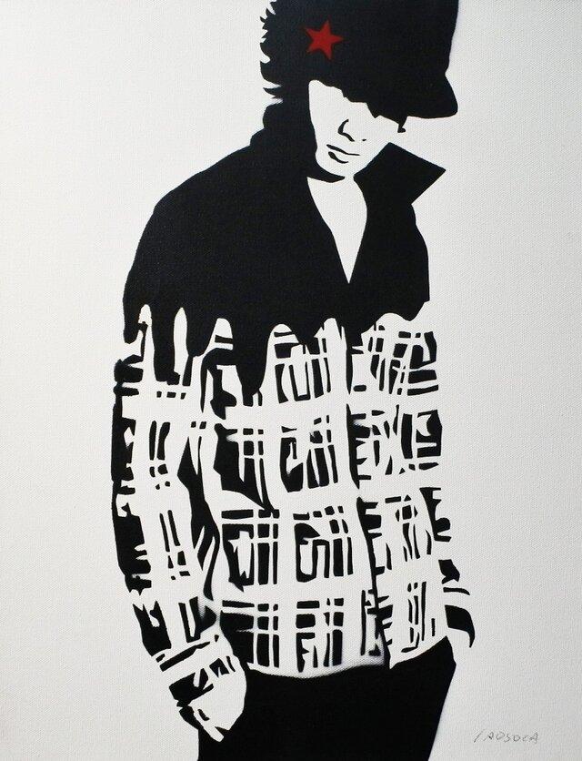 チェックシャツの男性 F6サイズ絵画の画像1枚目